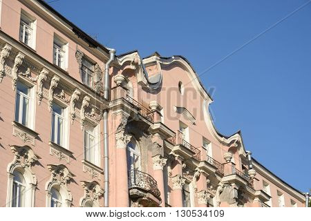 Facade of old building in center of St.Petersburg Russia.