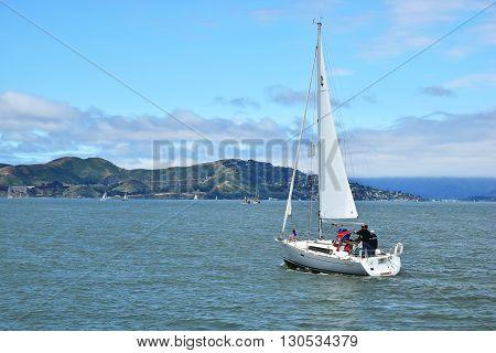 SAN FRANCISCO, USA - MAY 08, 2016: Sailing San Francisco Bay