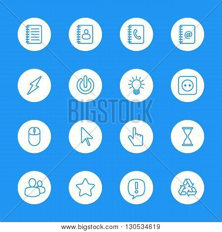 line web icon set on white circle for web design user interface (UI) infographic and mobile application (apps)