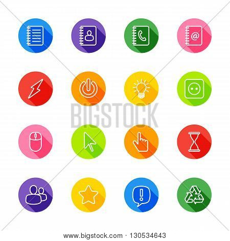 white line web icon set on colorful circle with shadow for web design user interface (UI) infographic and mobile application (apps)