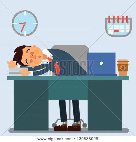 Businessman Working Day. Sleeping Businessman at Work Vector illustration