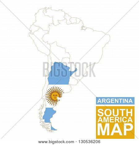 South America Contoured Map With Highlighted Argentina.
