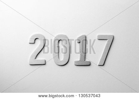 new year of 2017 in black and white