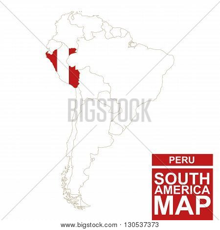 South America Contoured Map With Highlighted Peru.