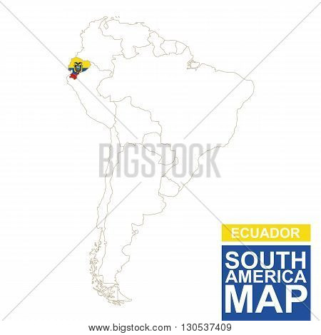 South America Contoured Map With Highlighted Ecuador.