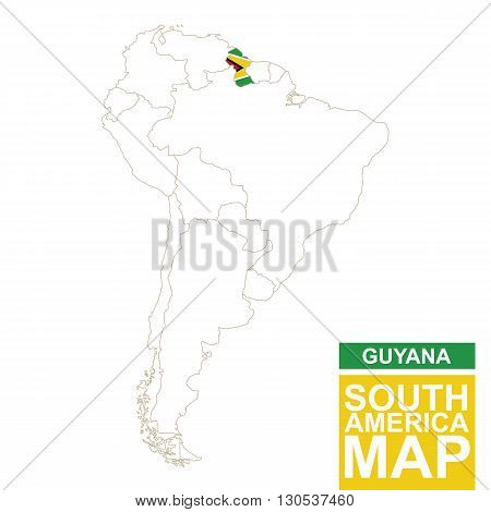 South America Contoured Map With Highlighted Guyana.