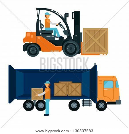 Forklift with Driver. Worker Loading Containers into the Truck. Cargo Industry Vector illustration