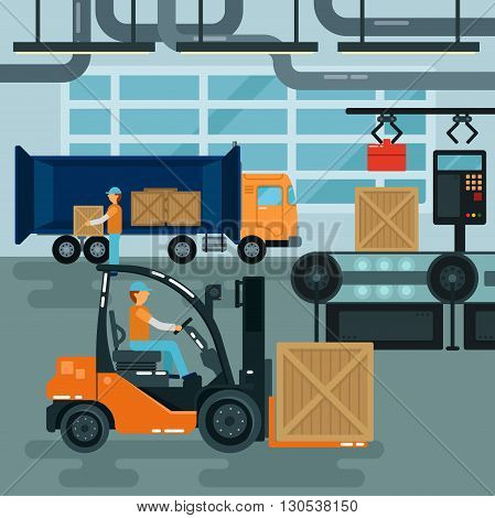 Forklift Inside Factory. Cargo Industry Heavy Transportation. Vector illustration