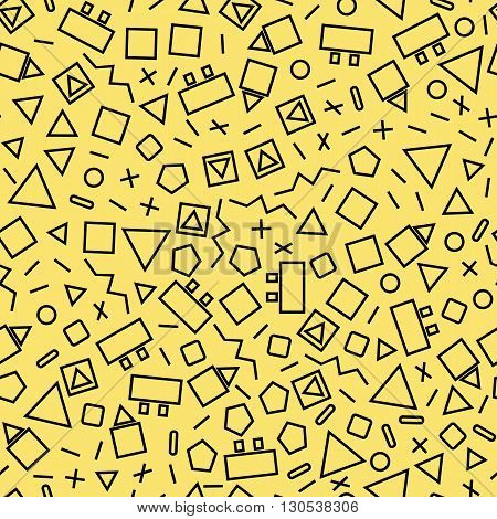 seamless geometric background with triangles the design of the 80s -vector illustration. Retro group Memphis. Background of geometric shapes. Bright color eye gouge. Memphis style yellow background