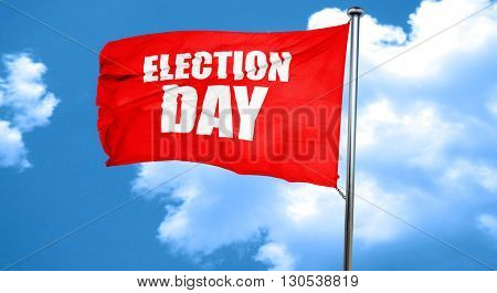 election day, 3D rendering, a red waving flag