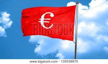 euro sign, 3D rendering, a red waving flag
