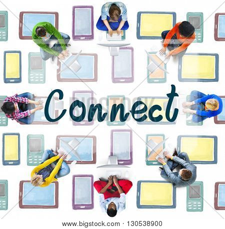 Connect Interact Communication Social Media Concept