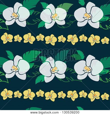 tropical pattern with white and yellow orchids, seamless vector patter