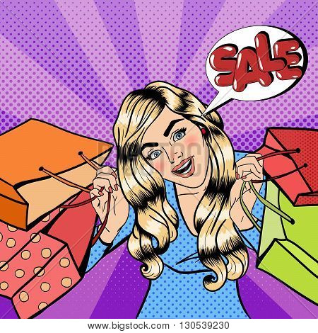 Girl with Shopping Bags. Sale Banner. Pop Art Vector illustration