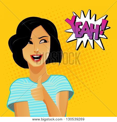 Woman Gesturing Great. Bubble Expression Yeah. Pop Art. Vector illustration