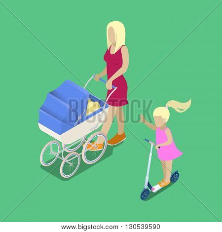 Isometric People. Young Mother with Baby Carriage. Girl on the Scooter. Vector illustration