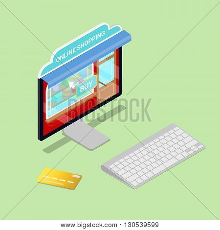Online Shopping. Isometric Computer. Electronic commerce. Vector illustration
