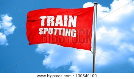 trainspotting, 3D rendering, a red waving flag