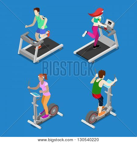 Isometric People. Man and Woman Running on Treadmill in Gym. Active People. Vector illustration