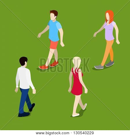 Isometric People. Walking Man. Walking Woman. Vector illustration