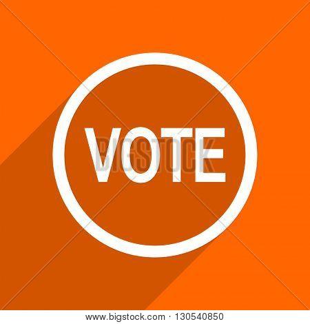 vote icon. Orange flat button. Web and mobile app design illustration