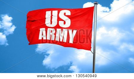 us army, 3D rendering, a red waving flag