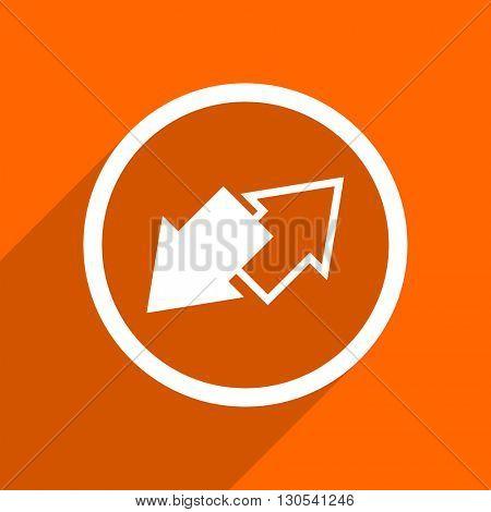 exchange icon. Orange flat button. Web and mobile app design illustration