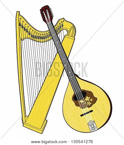 Irish National Musical Instruments. Celtic Harp and Irish Bouzouki isolated on white background