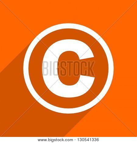 copyright icon. Orange flat button. Web and mobile app design illustration