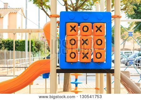 oughts and crosses game at children's playground
