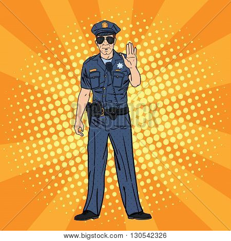 Serious Police Officer. Pop Art Vector illustration