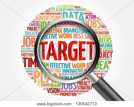 Target Word Cloud With Magnifying Glass