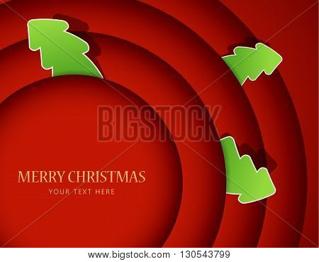 Red circles with christmas tree badges. Vector art