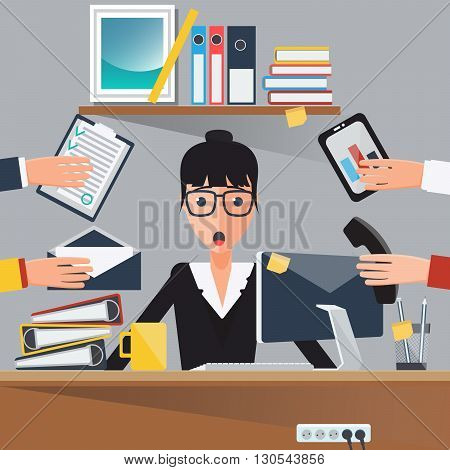 Businesswoman at Work. Shocked Woman. Business Lady. Vector illustration