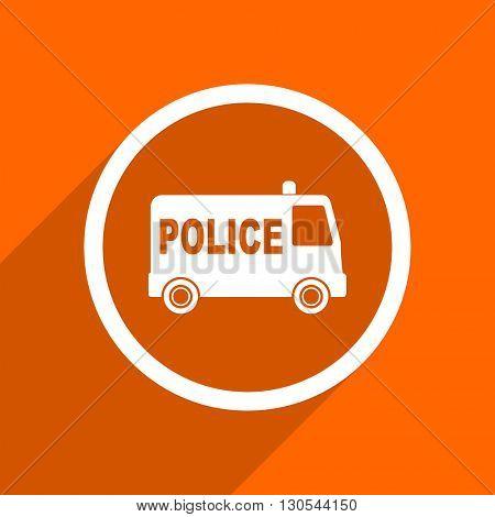 police icon. Orange flat button. Web and mobile app design illustration