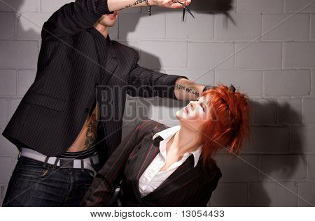 picture of scared redhead girl and crazy barber