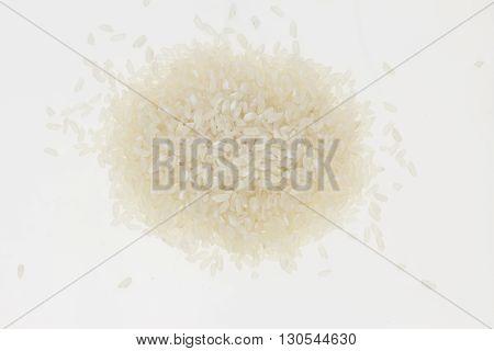 Heap Of White Rice, On White Background