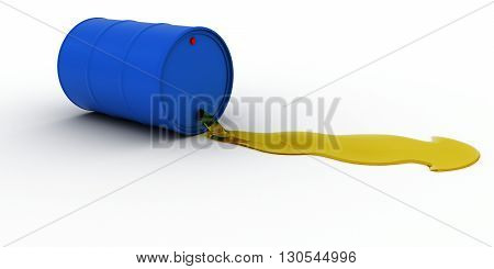 Blue Oil Barrel Leaking Golden Oil 3D Illustration