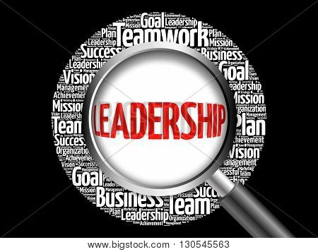 Leadership Word Cloud With Magnifying Glass