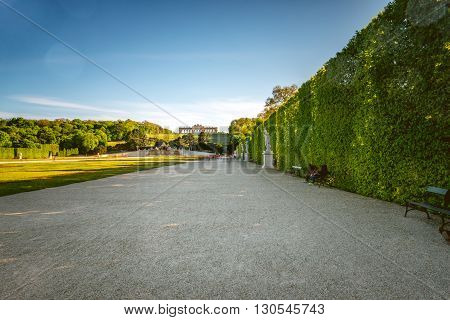 VIENNA, AUSTRIA - CIRCA APRIL 2016: Schonbrunn gardens with Gloriette building in Vienna. Schonbrunn palace is one of the most important architectural and historical places in Austria