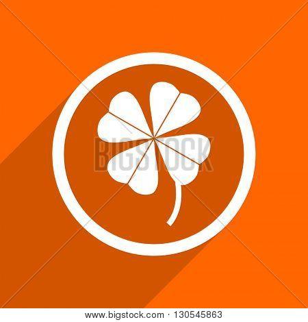 four-leaf clover icon. Orange flat button. Web and mobile app design illustration