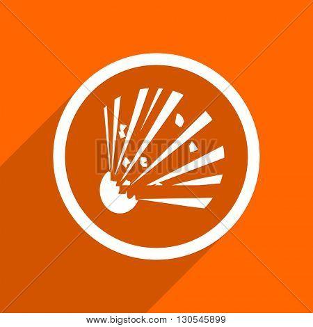 bomb icon. Orange flat button. Web and mobile app design illustration