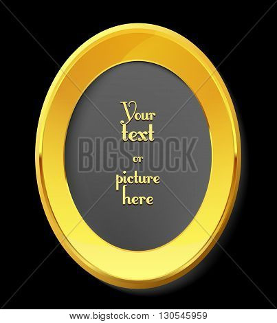 Empty golden picture frame with place for text. Vector art