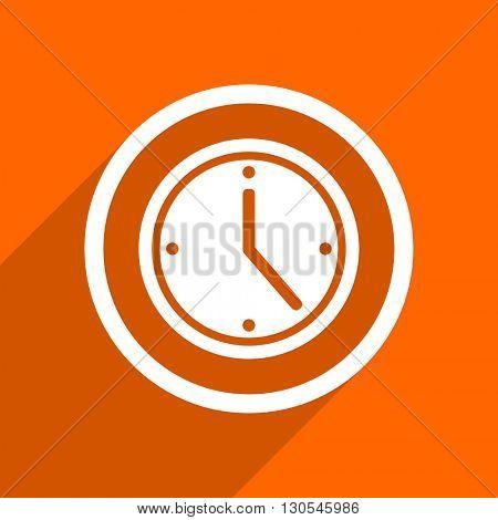 time icon. Orange flat button. Web and mobile app design illustration
