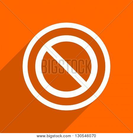 access denied icon. Orange flat button. Web and mobile app design illustration