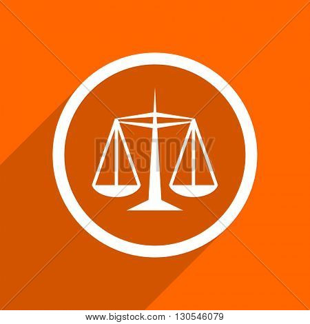 justice icon. Orange flat button. Web and mobile app design illustration