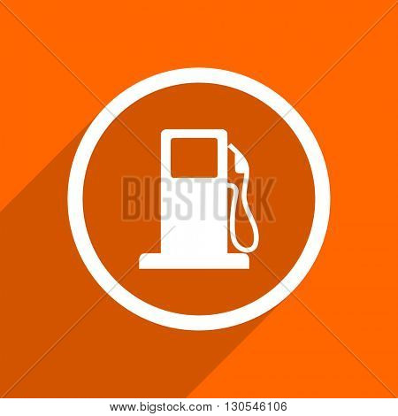 petrol icon. Orange flat button. Web and mobile app design illustration