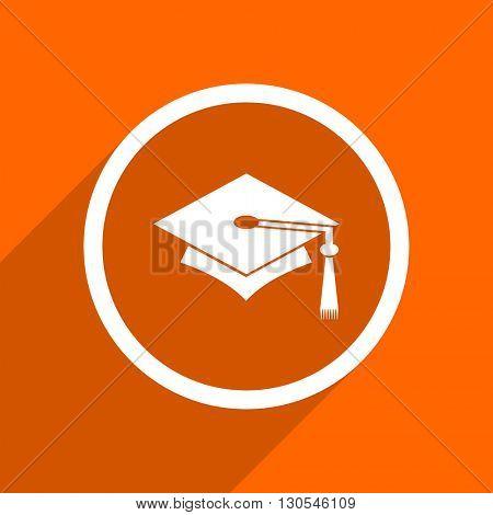 education icon. Orange flat button. Web and mobile app design illustration