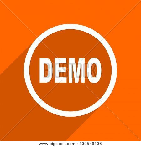 demo icon. Orange flat button. Web and mobile app design illustration