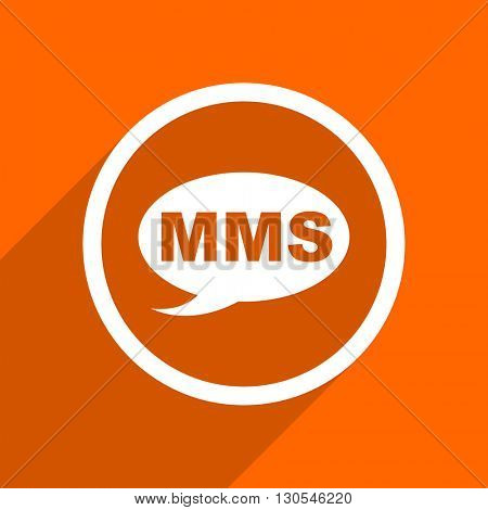 mms icon. Orange flat button. Web and mobile app design illustration
